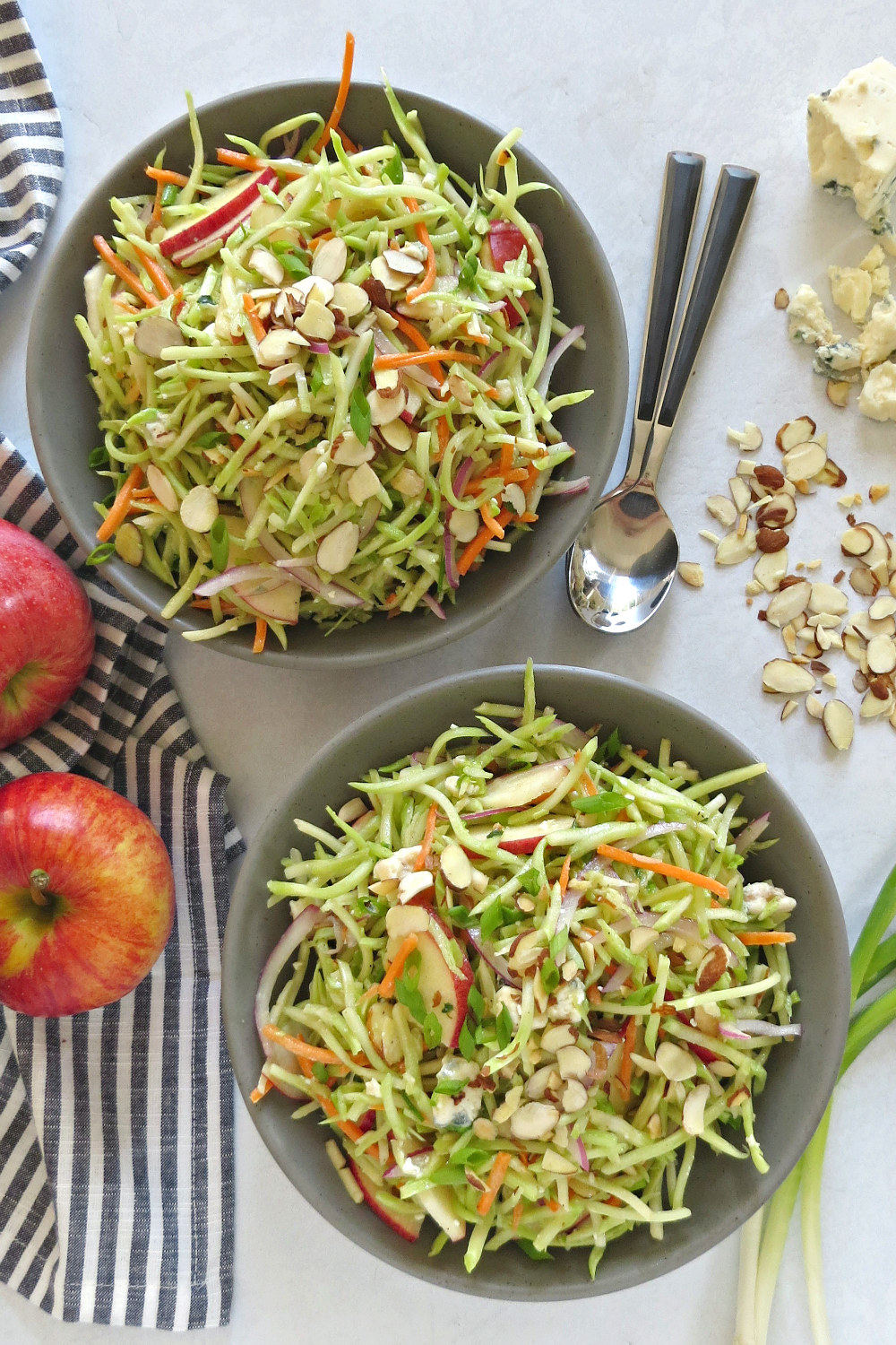 Broccoli Slaw Recipe with Apples and Blue Cheese