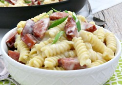 Ultra Creamy Mac 'n Cheese with Sausage & Green Chilis