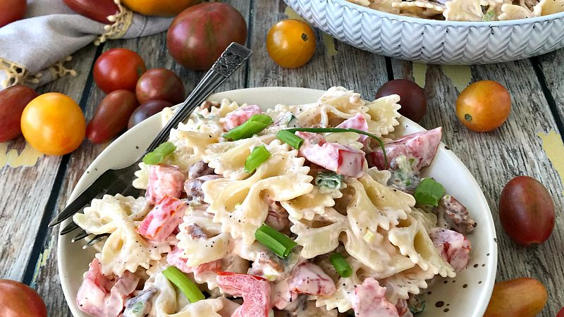 Easy Pasta Salad Bacon Tomatoes