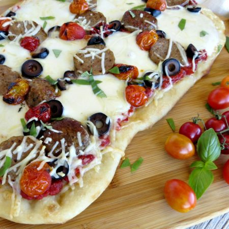 Easy Meatball Pizza Recipe with Roasted Heirloom Tomatoes