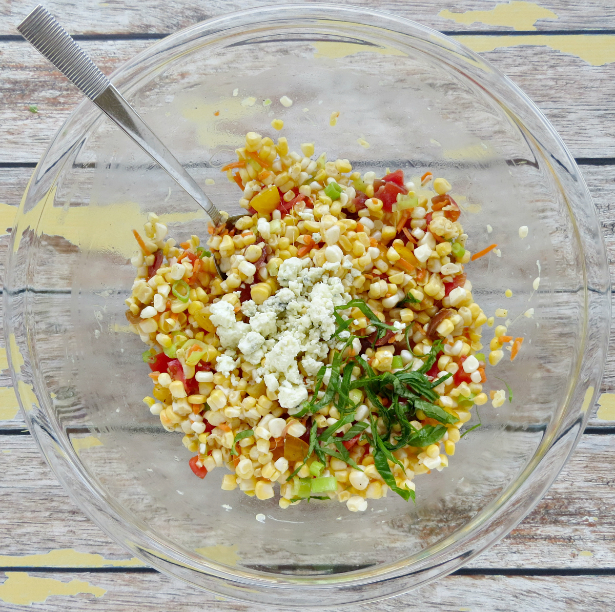 Corn Salad Recipe with Blue Cheese and Tomatoes