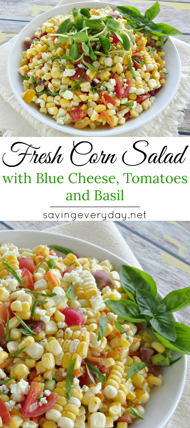 Fresh Corn Salad Recipe with Blue Cheese Tomatoes Long
