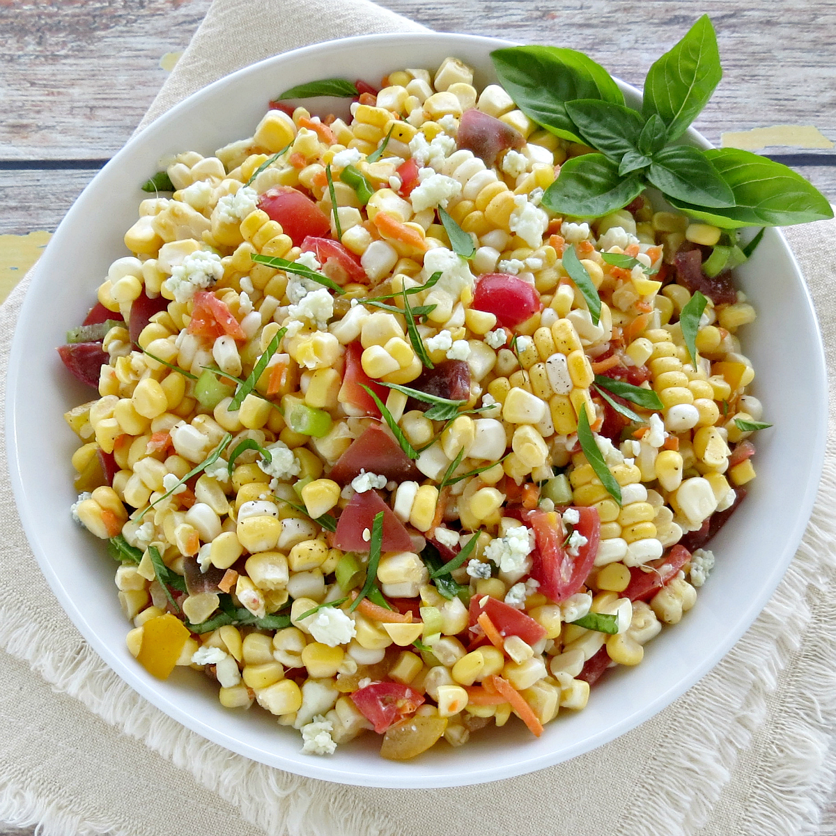 Fresh Corn Salad Recipe with Blue Cheese Tomatoes
