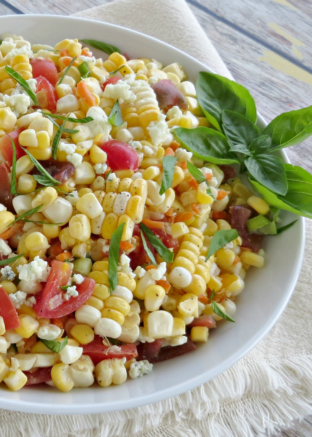 Fresh Corn Salad with Blue Cheese and Tomatoes Recipe