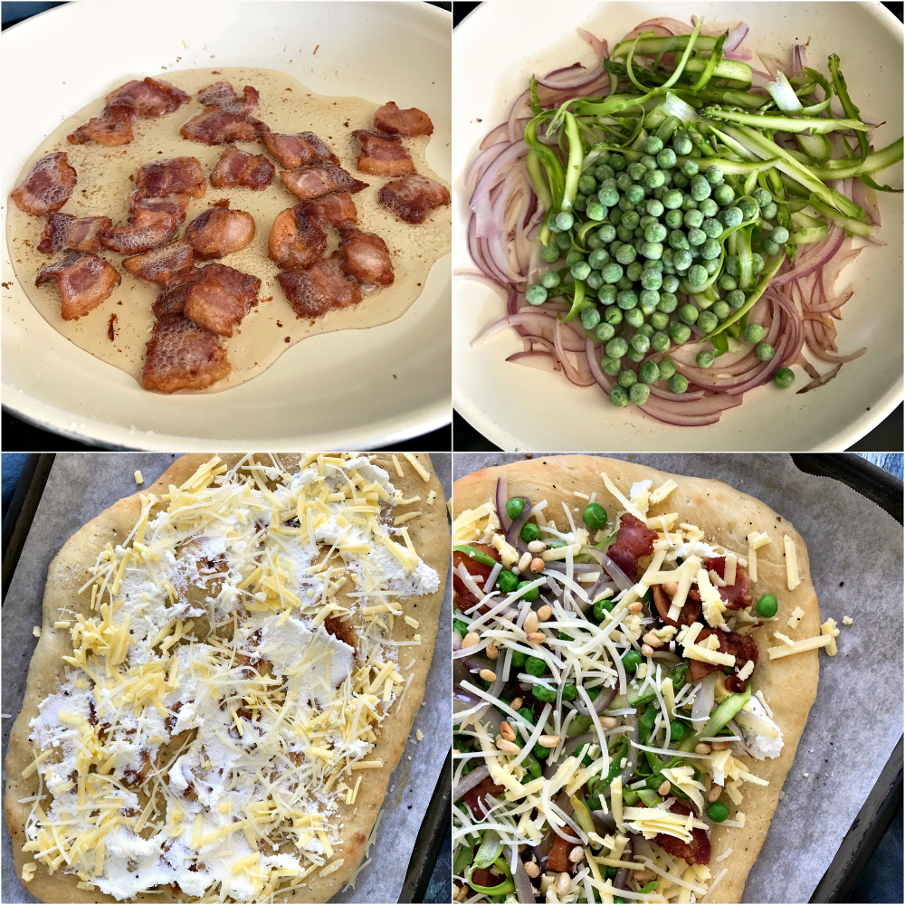 Easy Pizza Recipe with Bacon and Asparagus
