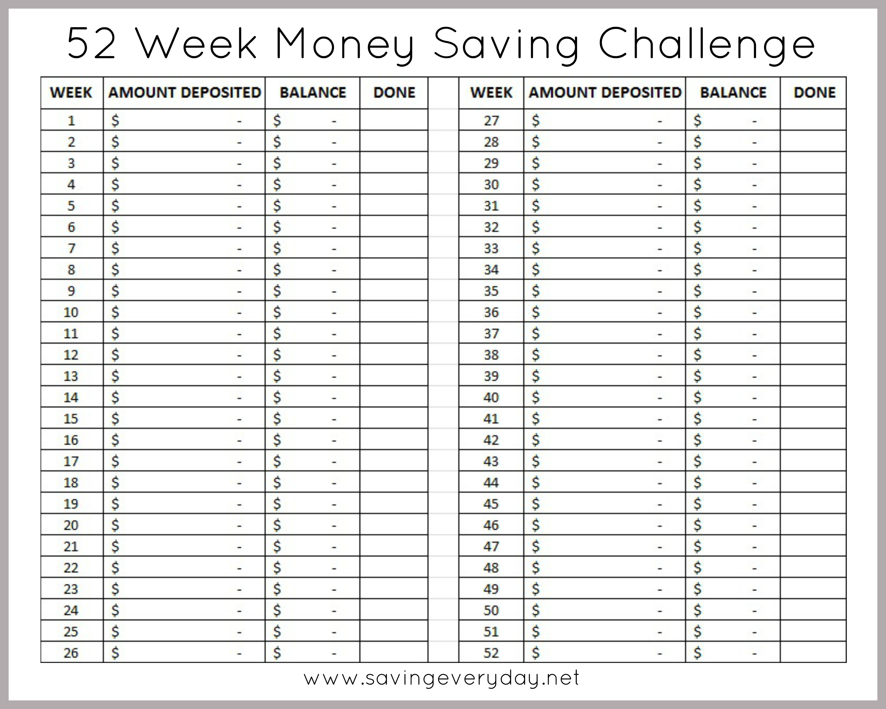 Monster image within 52 week money challenge printable