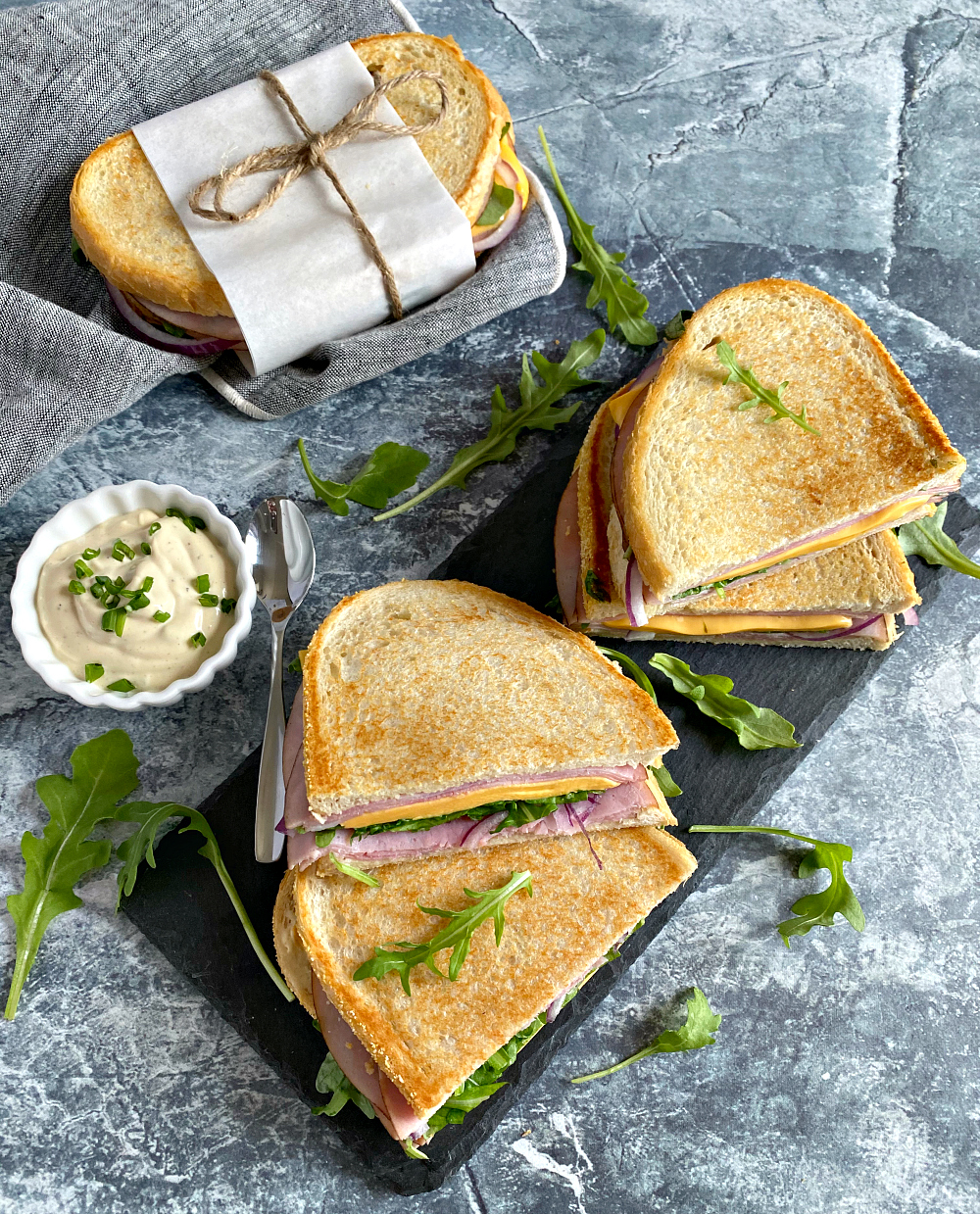 Ham and Cheese Pressed Sandwiches